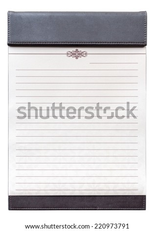 Isolate Blank notepad on the brown clipboard, for memorandum in meeting room. - stock photo