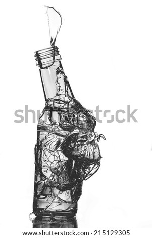 isolate broken glass on white background - stock photo