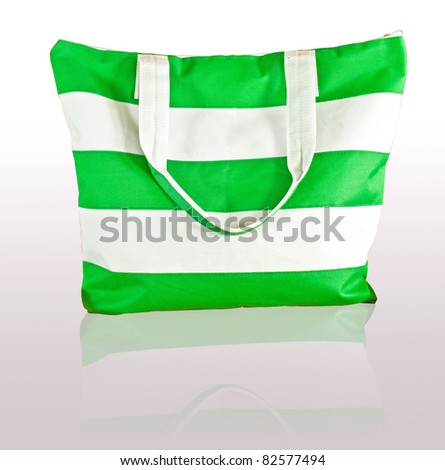 isolate green and white stripe bag - stock photo