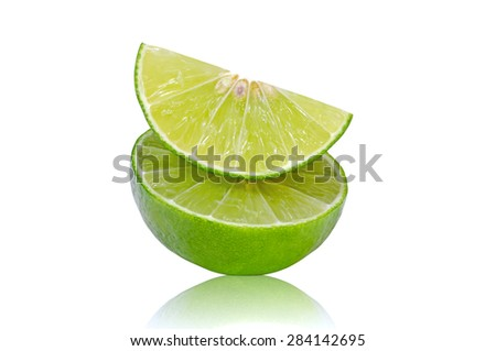 Isolate Green Lemon Slice on White Background With Clipping Path