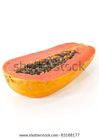 isolate half Papaya on white background