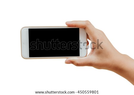 isolate hand holding mobile smart phone with black blank screen in horizontal revel on white background with clipping path