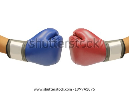 isolate hand with boxing glove for competition  on white background
