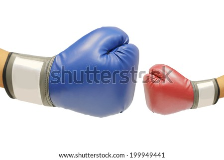 isolate hand with boxing glove for competition  on white background - stock photo