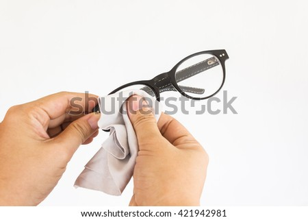 Isolate hands scrub or cleaning eyeglasses on white background