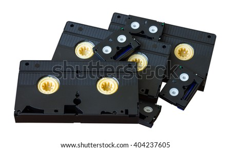 Isolate mini DV cassette VHS to lay stacked together, which is not in use for a long time. - stock photo