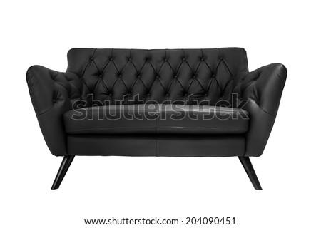 isolate modern leather sofa on white background - stock photo