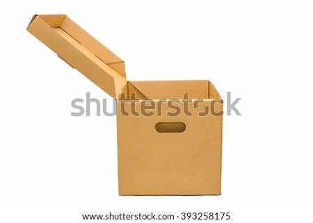 isolate of Cardboard empty box - stock photo