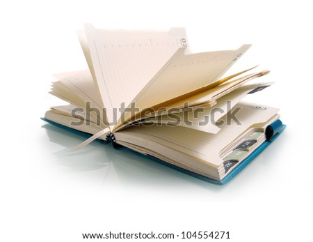 Isolate open notebook on white background