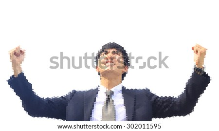 isolate polygon photo , business man action elated as if he has get to promote or success , white background - stock photo
