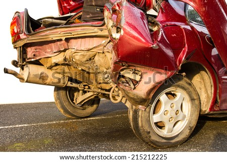 Isolate rear of red car crash caused by accident on the road. - stock photo