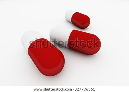 Isolate red and white capsule pills - stock photo