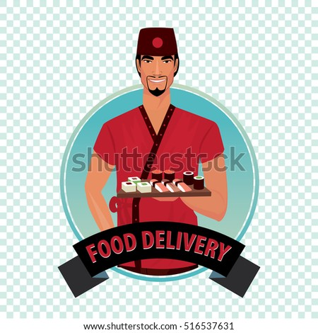 isolate round icon on white background with asian courier man from catering service holding