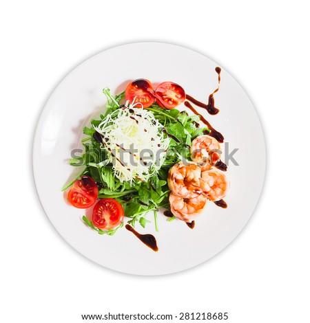isolate shrimp salad on a plate - stock photo
