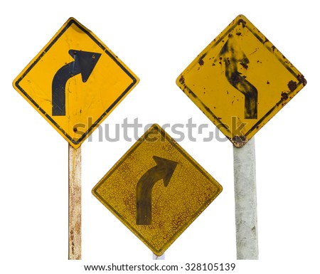 Isolate sign three traffic turn moldy old rusty weathered because of a long year. - stock photo