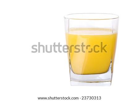 Isolate small glass of orange juice - stock photo