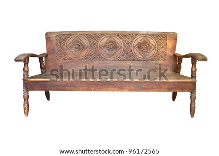isolate sofa wood old a white background - stock photo