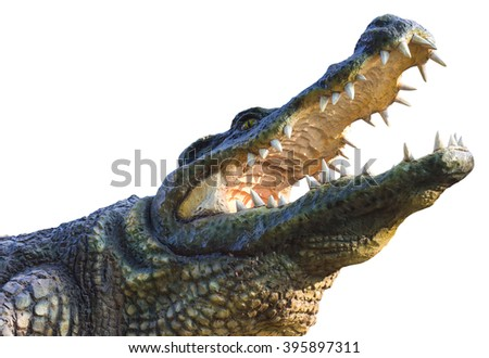 Isolate statue cement alligator agape obnoxiously through which sunlight inside. - stock photo