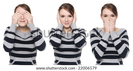 Isolate studio shot of a casually dressed young adult woman in the See No Evil, Hear No Evil, Speak No Evil poses. - stock photo