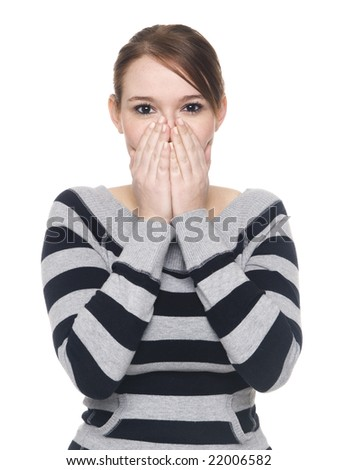 Isolate studio shot of a casually dressed young adult woman in the Speak No Evil pose. - stock photo