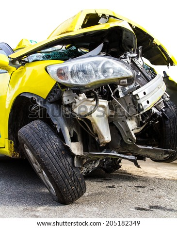 Isolate the front of the yellow car crash caused by accident  - stock photo