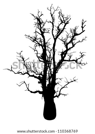 Isolate the silhouette of a tree with no leaves in the solitude is horribly spooky. - stock photo