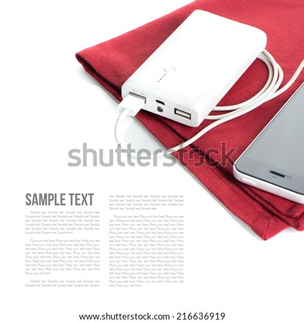 isolate white power bank for charging mobile devices - stock photo