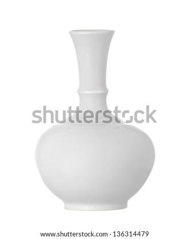 Isolate White Vase - stock photo