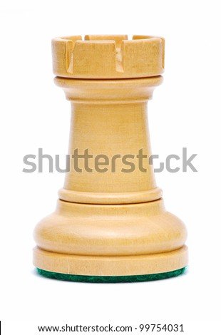 Isolate Wooden Rook Chess - stock photo