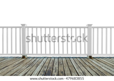 Isolate wooden white balcony with perspective grunge wood floor on white background