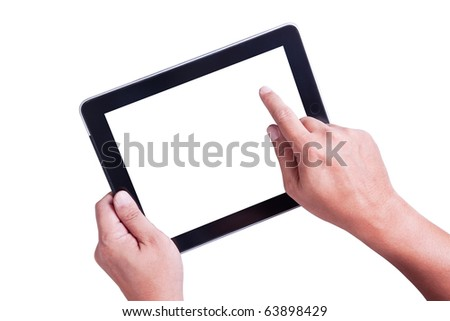 Isolated a male hand holding a touchpad pc - stock photo