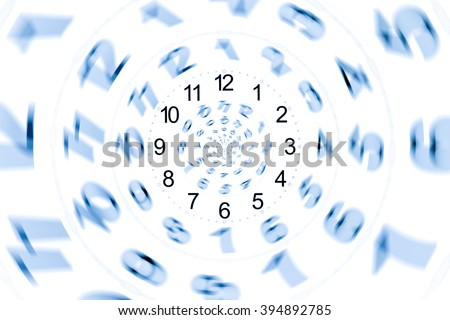 isolated abstract number and time for  on white wallpaper or background / Infinity period/ Digital generated minutes / Past Present Future / The power of now - stock photo