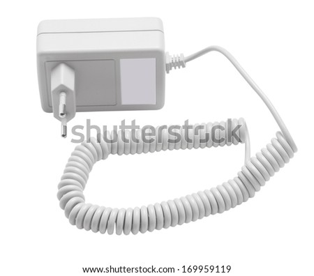 Isolated adapter/adapter white, isolate on white, clipping path - stock photo