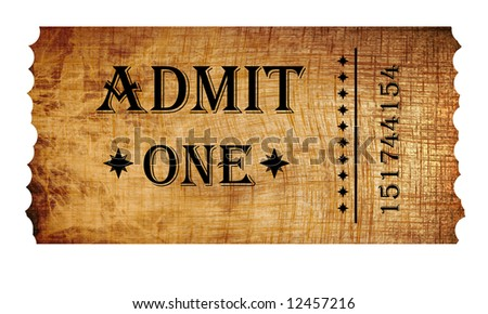 Isolated admit one ticket on vintage paper - stock photo