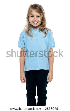Isolated adorable young child posing for a portrait on white background. - stock photo