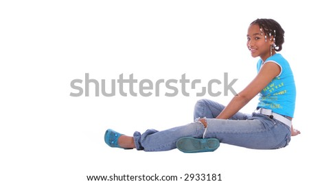 isolated african american girl relaxing on the floor - stock photo
