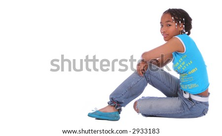 isolated african american girl sit on the floor - stock photo
