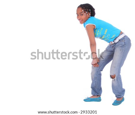 isolated african american girl with laid back pose - stock photo