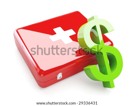 Isolated Aid Kit With Green Dollar Sign - stock photo