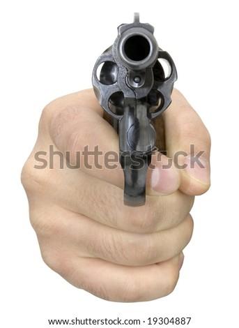 Isolated Aimed gun - stock photo