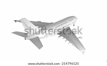 Isolated airplane - clear surface - ready for editing - stock photo