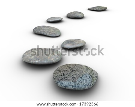 Isolated aligned stones on a white background. Made in 3d. - stock photo