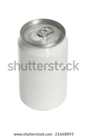 isolated Aluminum soda can with blank white label