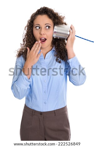 Isolated amazed funny business woman calling with tin can phone. - stock photo