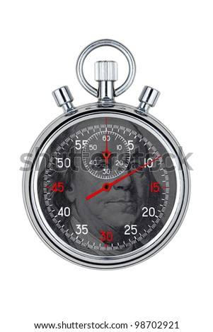 isolated analog chronometer on white background - stock photo