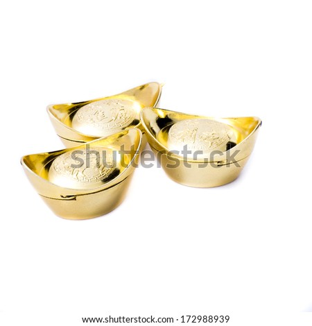 Isolated ancient Chinese gold ingots - stock photo