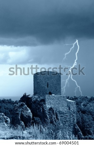 isolated ancient ruins on the mountain - stock photo