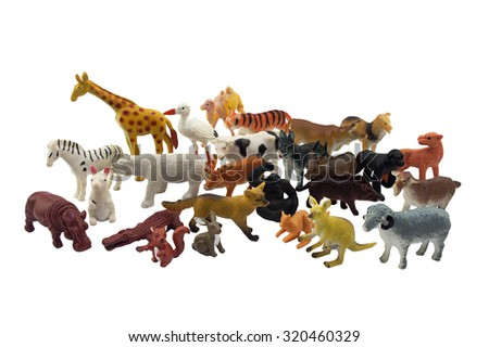 Isolated animals toys photo. Isolated wild and domestic animals toys photo. - stock photo