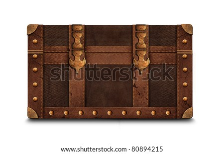 Isolated antique chest on white background - stock photo