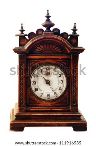 Isolated antique clock on white background - stock photo